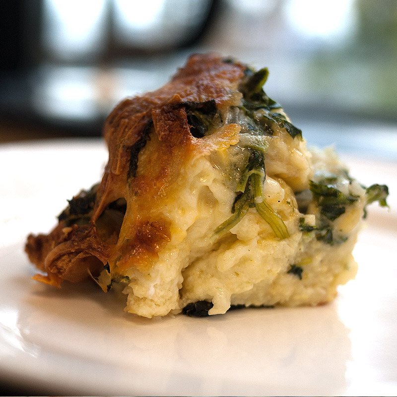 Spinach and Four Cheese Strata