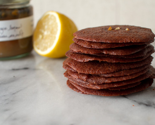 brownie thins with preserved lemons