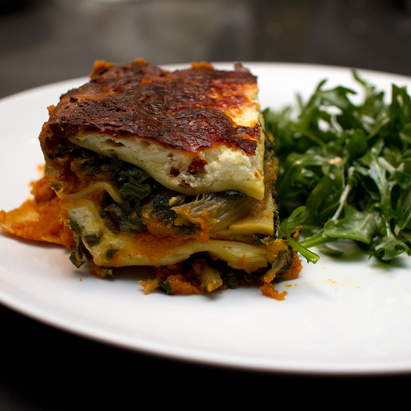 Pumpkin And Swiss Chard Lasagna With Saffron Noodles And