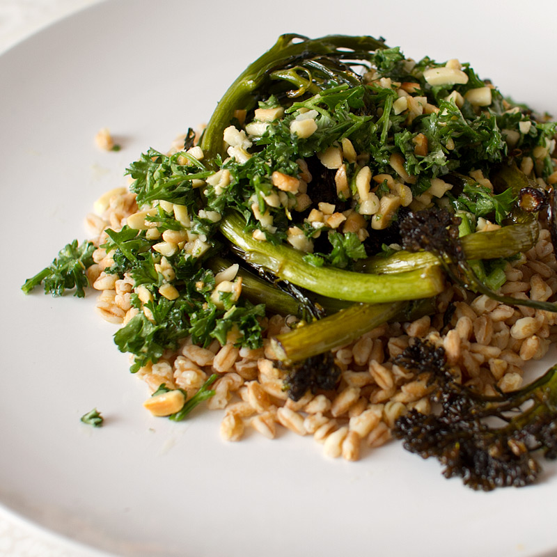 ... salad farro and roasted butternut squash farro and roasted broccolini