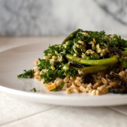 farro and roasted broccolini salad
