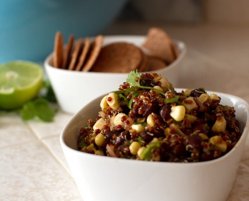 vegan smoked corn and red quinoa salad from FMITK