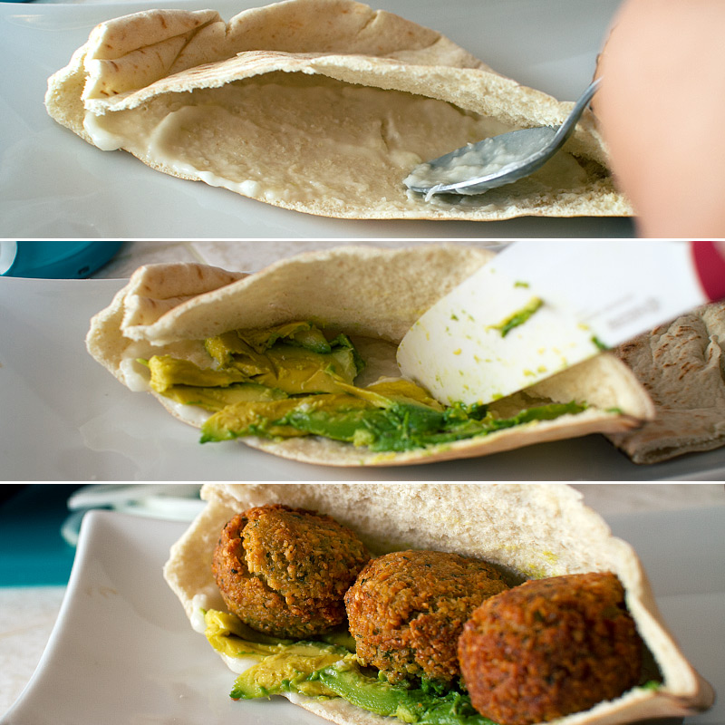 romaine salad baked falafel w tahini garlic falafel with tahini garlic ...