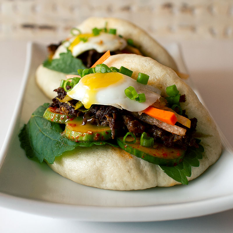 Diy Korean Bbq Sauce: Bulgogi Bao With Spicy Cucumbers And Kimchi Slaw