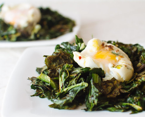 arzak eggs and crispy roasted greens recipe on fmitk.com