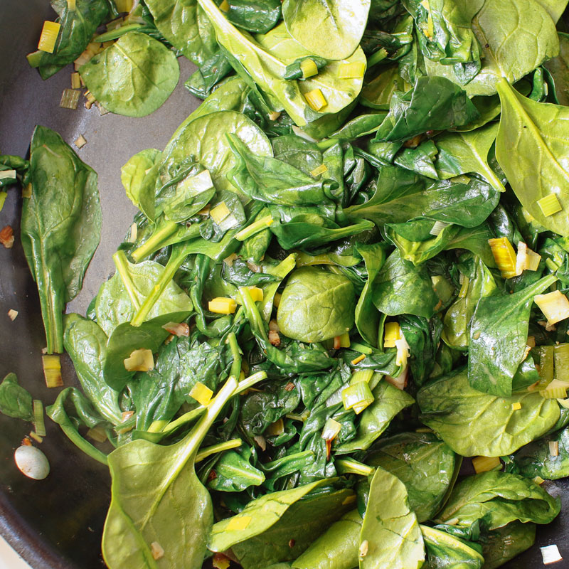 Cook the spinach just until wilted. Place the mixture in a medium bowl ...